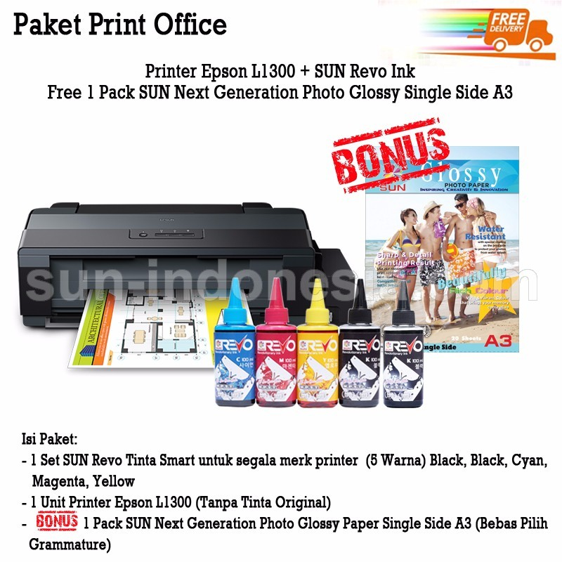 PRINTER EPSON L1300 TINTA SUN REVO 100 ML BONUS NG GLOSSY PHOTO PAPER A3
