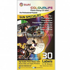SUN PREMIUM INK NFI 100 ml Epson (1 set 6 Warna) + Photo Glossy CD Label 1 Pack ( Free Ongkir )