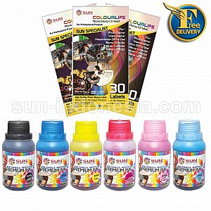 SUN PREMIUM INK NFI 100 ml Epson (1 set 6 Warna) + Photo Glossy CD Label 3 Pack ( Free Ongkir )