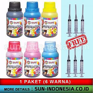 COLOURLIFE PHOTO GLOSSY CD Label 3 PACK + SUN PREMIUM INK NFI 100 ML 1 SET (6 WARNA) - FREE ONGKIR