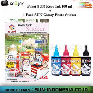 SUN NG Glossy Photo Sticker A4 90 GSM 1 Pack + SUN Revo Ink 1 set 100 ML - Free Ongkos Kirim