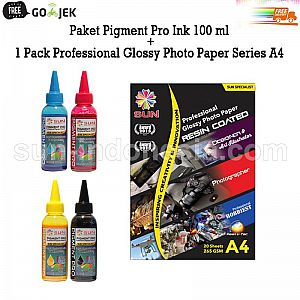 PIGMENT PRO INK 100 ML (4 WARNA) + PROFESSIONAL GlOSSY PHOTO PAPER 265 GSM 1 PACK - FREE ONGKIR
