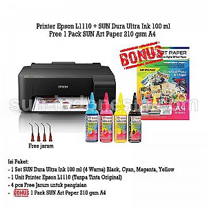 PRINTER EPSON L1110 TINTA SUN DURA ULTRA 100 ML BONUS ART PAPER 210 GSM A4