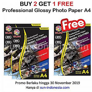 SUN PROFESSIONAL GLOSSY PHOTO PAPER 265 GSM A4 (RESIN COATED) BUY 2 GET 1 FREE